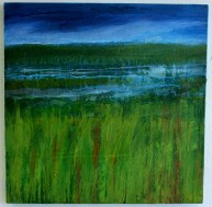 Marsh Reflections, oil on canvas, framed, 64 x 64cm, SOLD