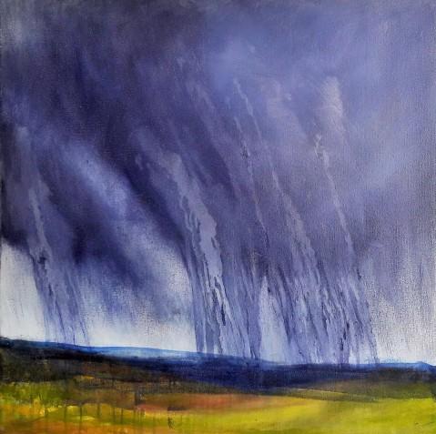 Distant Downpour, Oil paint on canvas, 60x60cm, SOLD