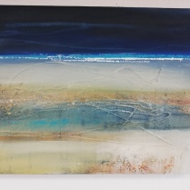 Rain or thundery showers, visibility moderate or occasionally poor, Acrylic and mixed media on canvas, unframed 30 x 40cm £200