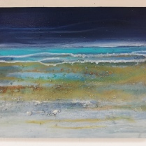 Sea state rough thundery showers, visibility moderate or good, Acrylic and mixed media on canvas, unframed 30 x 40cm £200